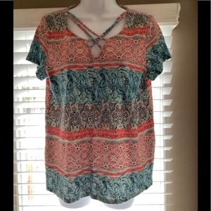 Pre-owned Ruff Hewn criss-cross neck shirt, size L